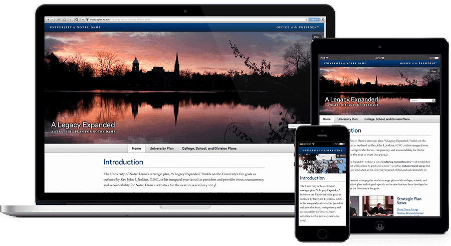 Strategic plan website on multiple devices