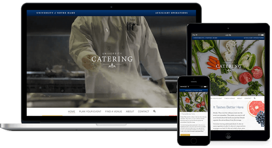 Catering website on multiple devices