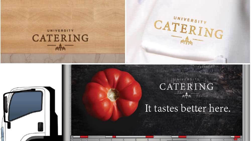 Catering branding on a cutting board, chef jacket and delivery truck