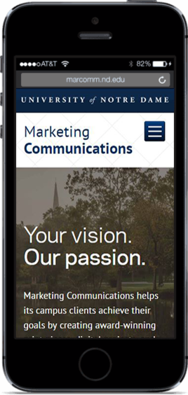 iPhone image showing the Marketing Communications website