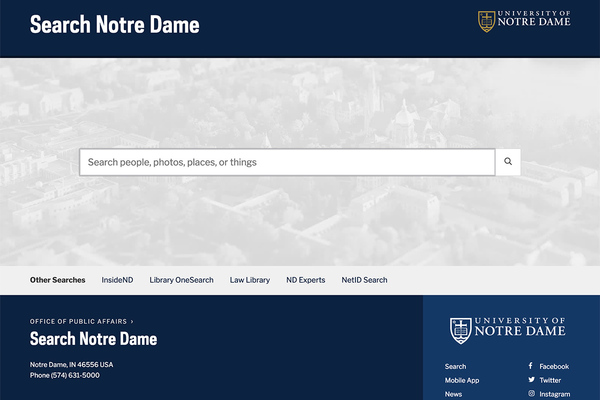 search.nd.edu homepage