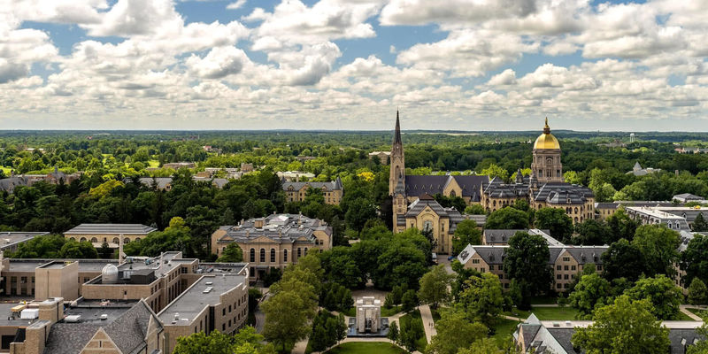 A view of campus including the Basilica and Main Building from atop the Library